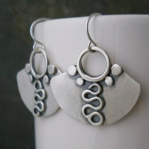 sterling silver ,patterned earrings, hand forged