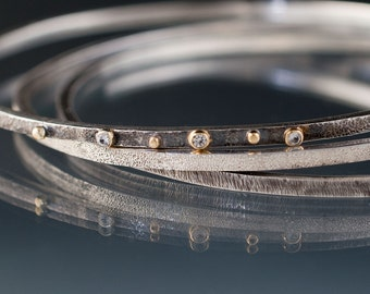 White Sapphire Textured Sterling Silver Bracelets 18k Gold Setting and Gold Accents, Set of 3 Thin Oxidized Bangles