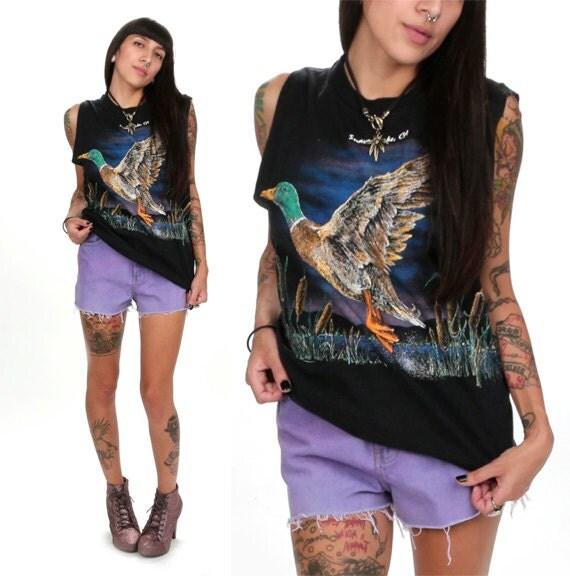 80's Shaver Lake Mallard Duck T-Shirt M/L Duck Print Cutoff Muscle Tank