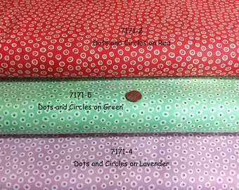 Aunt Lindy's PAPER DOLL Fabric, Dots and Circles on Green, Lavender, or Red, Reproduction Prints