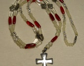 Red & Silver Beaded glass and stone necklace with Silver Cross Pendant