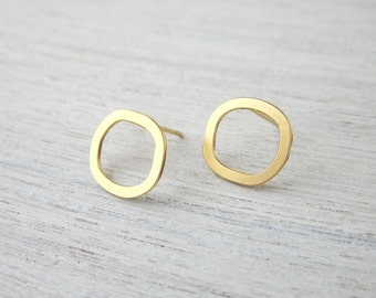 Small Hollow Circle Post Earrings, minimalist studs posts