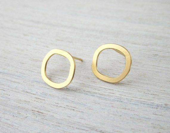 Small Hollow Circle Post Earrings in Gold, minimalist jewelry