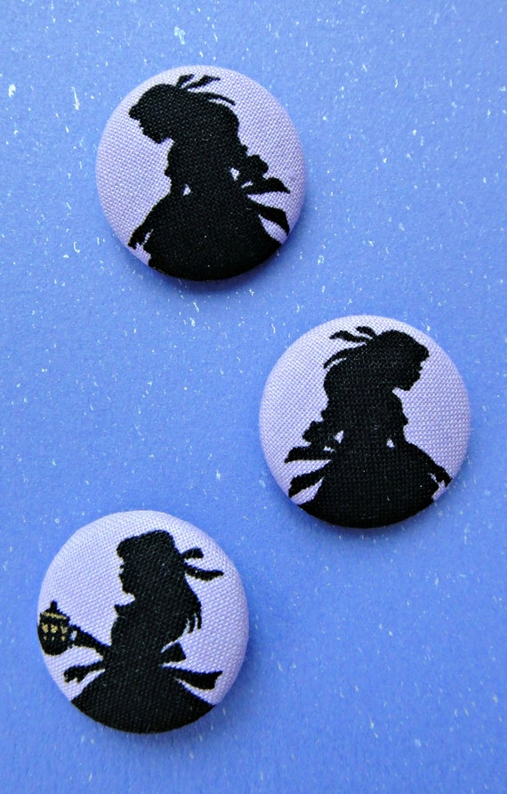 Alice In Wonderland Fairytale Silhouette Purple Japanese Fabric Buttons - Set Of 3 - 27mm
