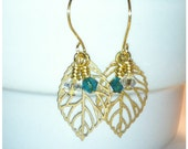 Gold Leaf Earrings with Swarovski Crystals