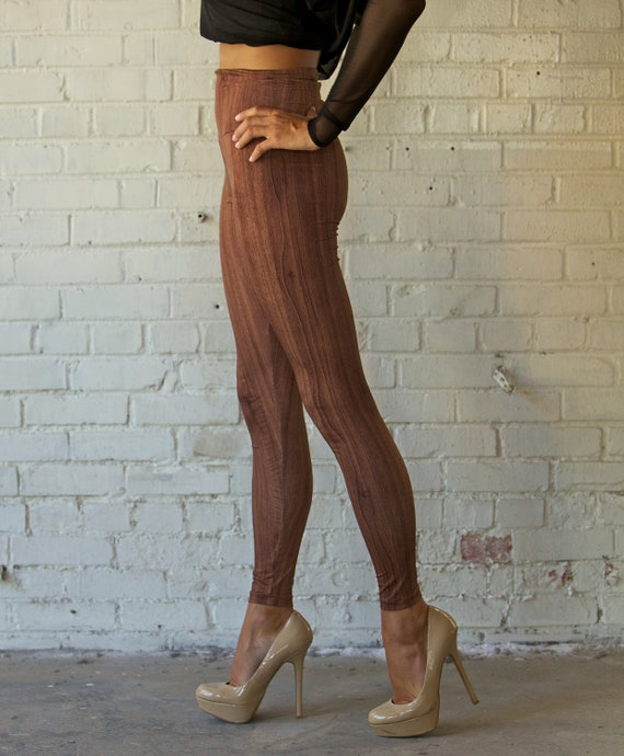 Wood Grain Print Leggings High Waisted Patterned Hand Made - Size Small