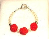 SALE Bracelet, 7 inch Beaded With Beautiful Red Carved Rose Beads and Ivory Glass Pearls