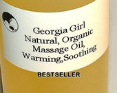 Massage Oil, Warming and Soothing, Natural, Organic, Vegan, Best Seller, 2 Oz.