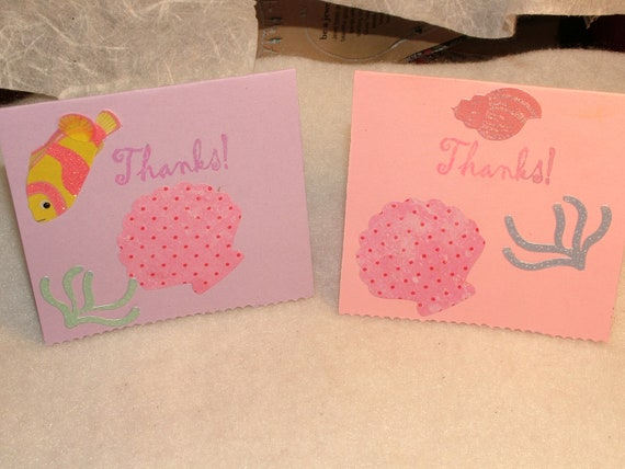 Set of 4 Mini Thank You Cards, Beach Themed