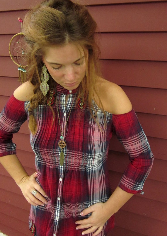 Red Purple Blue Open Cold Shoulder Upcycled Plaid Button Up Top Shirt With Native Woven Trim Size Small