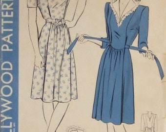Classic 1940s Vintage Hollywood Sewing Pattern 1366 Misses Maternity Dress Size 16 Bust 34