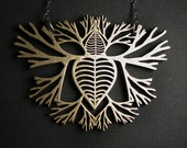 Branching Heart Necklace - Solid Stainless Steel - Growing Heart  - skeletal imagery - Jewelry- handmade in Austin, Tx