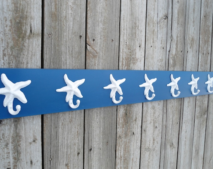 starfish coat rack stocking holder towel hooks mudroom organizer bathroom towel rack sports Outer Banks cottage BeachHouseDreams OBX