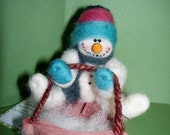"""Snowman on Sled 4"""" Wool Felted and Wool Wrapped Ornament"""