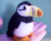 Wool Atlantic Puffin Bird Felted Ornament