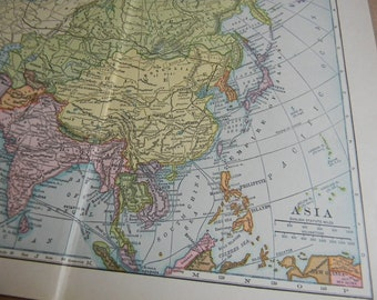 1909 Map Asia - Vintage Antique Map Great for Framing 100 Years Old