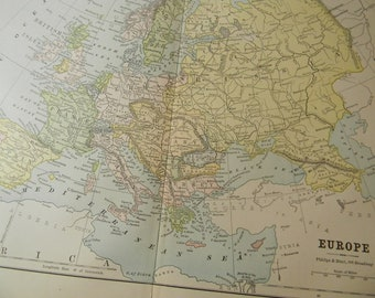 1887 Map Europe - Vintage Antique Map Great for Framing 100 Years Old