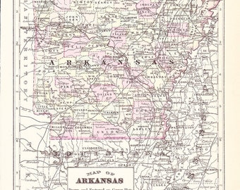 1895 State Map Arkansas - Vintage Antique Map Great for Framing 100 Years Old