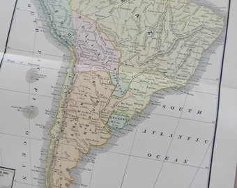 1902 Map South America - Vintage Antique Map Great for Framing 100 Years Old