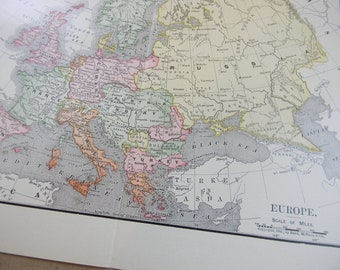 1902 Map Europe - Vintage Antique Map Great for Framing 100 Years Old