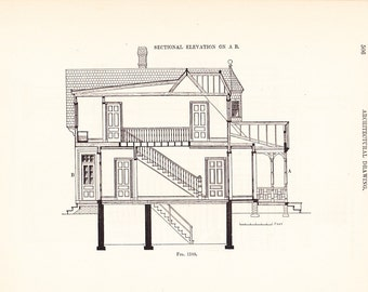 1892 Architecture Print - House - Vintage Antique Art Illustration Interior Design Great for Framing 100 Years Old