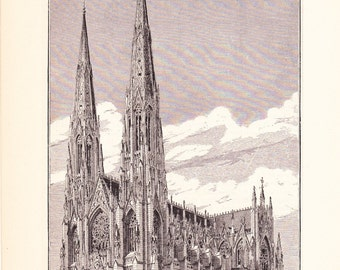 1885 Architecture Print - New York Cathedral - Vintage Antique Art Illustration Interior Design Great for Framing 100 Years Old