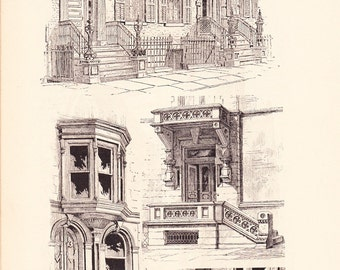 1886 Architecture Print - Stairs - Vintage Antique Art Illustration Interior Design Great for Framing 100 Years Old