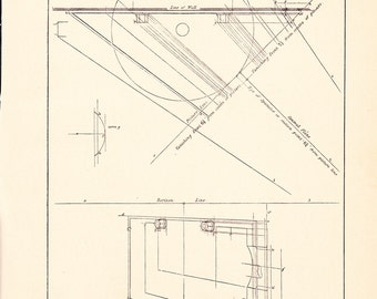 1885 Technical Drawing - Antique Math Geometric Mechanical Drafting Interior Design Blueprint Art Illustration Framing 100 Years Old