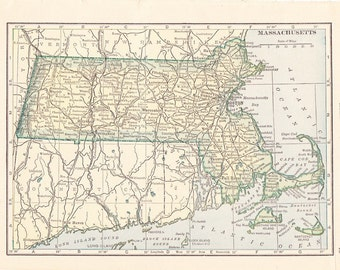 1910 State Map Massachusetts - Vintage Antique Map Great for Framing 100 Years Old