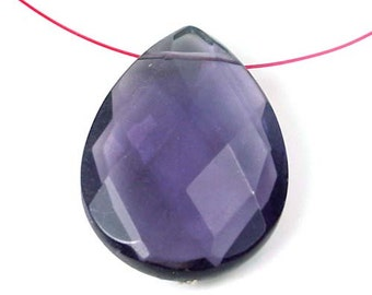 Amethyst glass Quartz Faceted Teardrop Pendant 40x30mm (e5624)