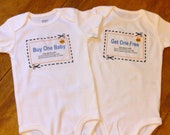 Twins Bodysuits, Buy one Get one Coupon. Original design. All sizes except adult. 100 percent cotton.