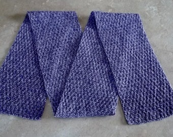 "Bonnie's OOAK Hand Knit Cotton Thread  item Blue/Lavender 5"" x 52""  Seeded Rib Checks Stitch Scarf, sold only @cyicrochet"