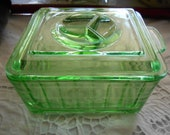 Hazel Atlas Green Depression Glass Refrigerator Container