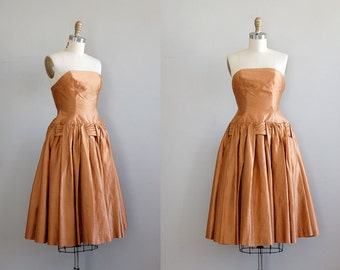 SALE Brown Sugar Bronze | silk 1950s dress | vintage 50s party dress