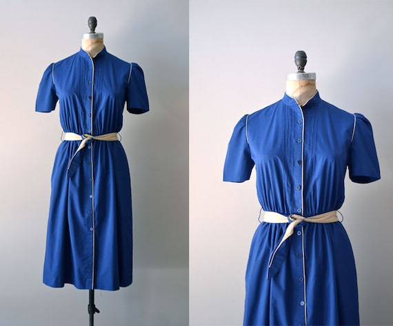 80s dress / belted shirtdress / Campus Cadet dress
