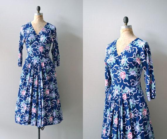 S A L E .... 80s floral print dress / vintage floral dress / Ribbonflower dress