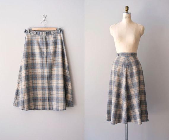 70s plaid wool skirt / vintage 70s skirt /  Study Hall plaid skirt