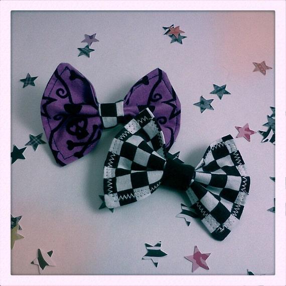 Set of 2 Fabric Hair Bows Checker Print and Purple Skull Print