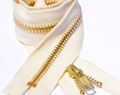 4 Inch to 34 inch WHOLESALE YKK Metal Zippers 100% Dyeable YKK 5 Brass Closed Bottom  Cotton Tape Zipper - Natural (Select Length and Style)