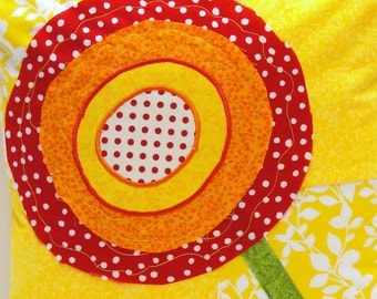 poppy pillow cover in yellow, orange and red on yellow background- appliqued- ready to ship