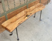 Mesquite Wood Bench with Forged Iron Legs