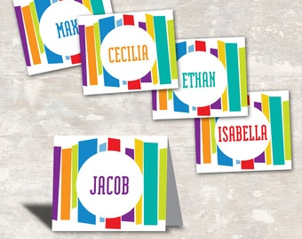 PRINT & SHIP Mod Stripe Birthday Food Labels (set of 8) >> personalized and shipped to you | Paper and Cake