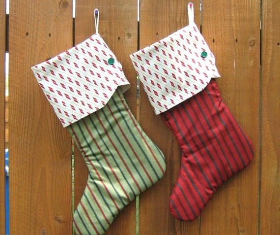 Christmas Stockings , Red And Green , Set Of Two