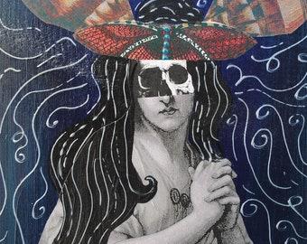 mixed media art painting collage wall art paper ephemera skull art day of the dead