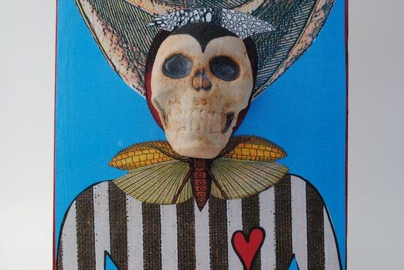 mixed media art skull assemblage wall art collage art ceramic face Halloween