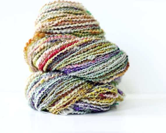Wool Yarn-Hand Dyed-Merino Yarn- Handspun Plyed- Art Yarn Opal Rainbow 136 yards