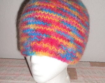 Hand Knit 100% Wool Hat  Soft, Warm - Skiing, Camping