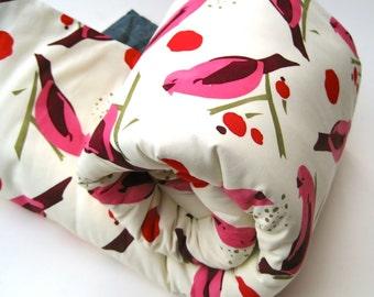 Preschool Nap Mat with Organic Cotton- Non-Toxic, Eco-Friendly Modern Kids Toddler School Nap Pad in Sweet Pink Birds