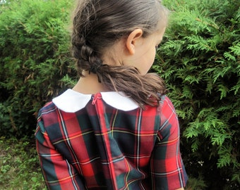 The Florence Dress - Girls Christmas Dress in Red Plaid with White Collar - Kids Fall Winter Holidays Fashion (Made To Order 2T 3T 4T 5T)