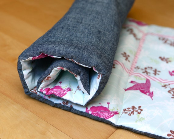 Birds Nap Mat - Eco-Friendly, Non Toxic Preschool Toddler Napmat with Organic Denim - Flock in Fuschia Pink on Aqua Sky Blue